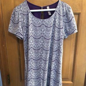 Purple and White Lace Dress